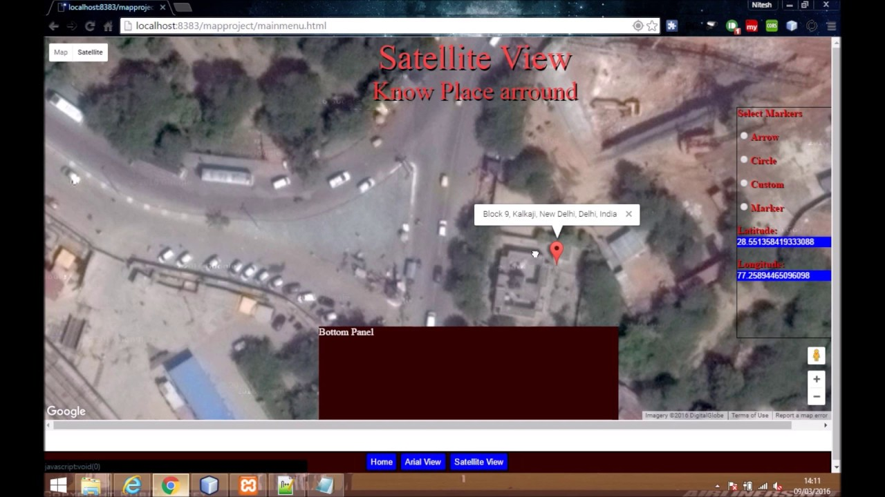 Google Maps Tutorial Show Satellite View And Distance Calculation - World map satellite view video