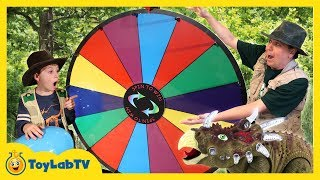 Dinosaur Family Game & Giant Prize Wheel! Dinosaurs, Surprise Eggs, Fun Nerf Playtime & Kids Toys