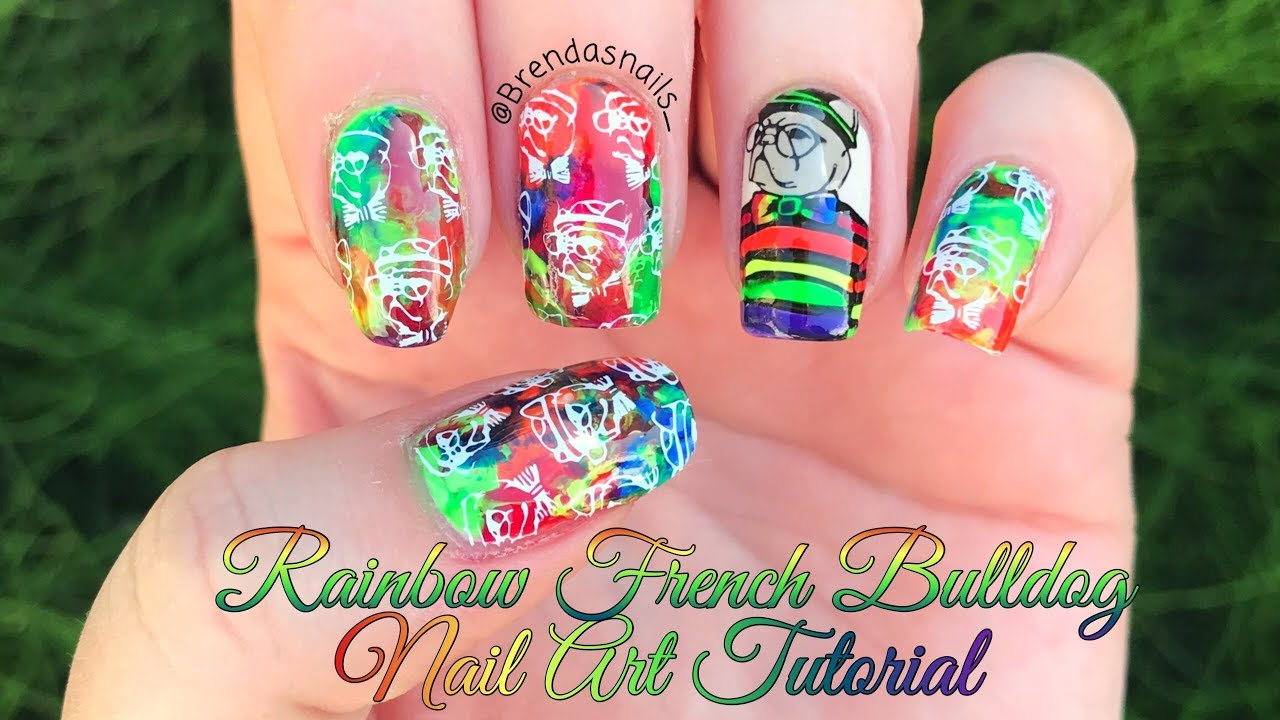 🌈 RAINBOW FRENCH BULLDOG NAIL ART TUTORIAL 🐶 | Brenda\'s Nails ...