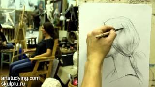 Обучение рисунку. Портрет. 13 серия: короткий рисунок - женский портрет