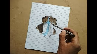 Optical illusion !! How to Draw a 3D Hole Drawing on Lined Paper Step by step