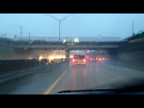 Rainy Drive from Warren, Michigan to Southfield, Michigan (I-696)