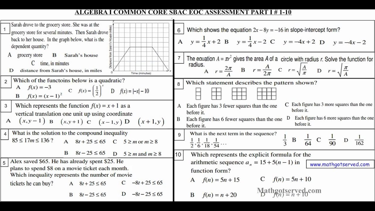 Printables Common Core Algebra 1 Worksheets algebra i common core sbac assessement part practice test 1 10 youtube