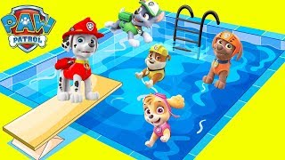 Paw Patrol HUGE WATER SLIDE Compilation with Moana, Trolls Movie, Skye Chase | Ellie Sparkles