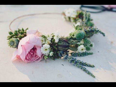Венок из живых цветов на голову