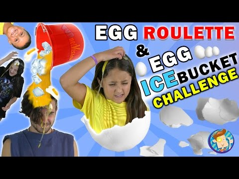 Thumbnail: EGG ROULETTE CHALLENGE w/ Raw Egg Ice Bucket Dump on Dallas the Pizza Guy | FUNnel Vision Messy Kids