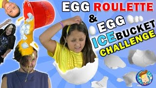 EGG ROULETTE CHALLENGE w/ Raw Egg Ice Bucket Dump on Dallas the Pizza Guy | FUNnel Vision Messy Kids