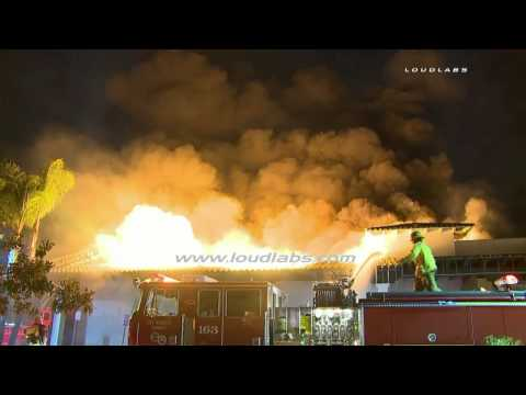 4 Firefighters Fall Through Roof of Burning Abandoned Casino  / Cudahy   RAW FOOTAGE