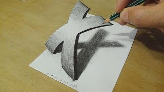 Drawing 3D Letter - How to Draw Curved Letter X - Trick Art for Kids & Adults