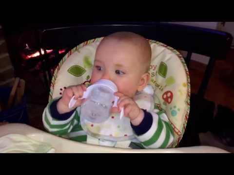 Tucker's First Try with a Sippy Cup