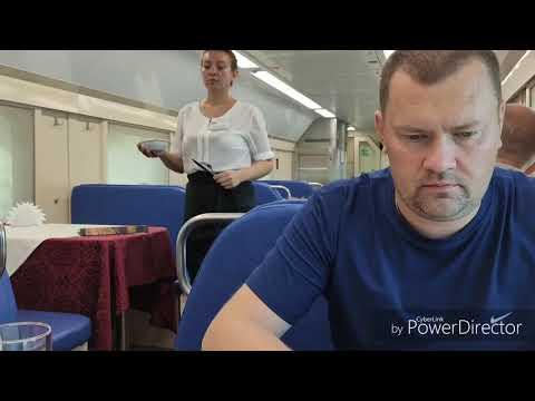 Вагон ресторан в двухэтажном поезде Москва Адлер 104. Завтрак и прибытие в Адлер, ж/д вокзал