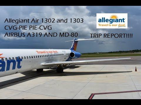 (TRIP REPORT) Allegiant Airlines 1302 CVG-PIE and Allegiant Airlines 1303 PIE-CVG. (A319 AND MD-80)