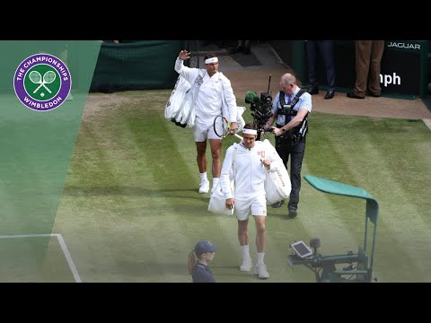 Roger Federer and Rafa Nadal take to Centre Court Wimbledon 2019
