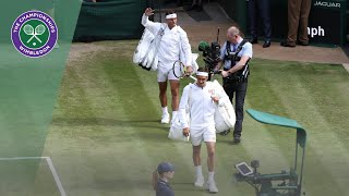Roger Federer and Rafa Nadal take to Centre Court Wimbledon 2019