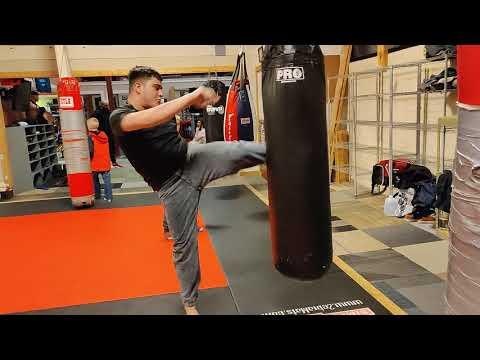 Kickboxing after training.... INSANE POWER