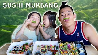 Happy family feasts on delicious sushi (Hungry FAM)