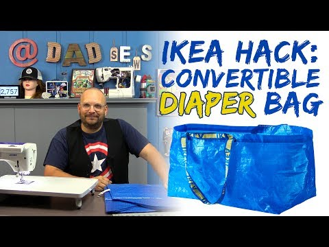 IKEA Blue Bag Hack - Sew a Convertible Diaper Bag for Dad - FRAKTA Hack