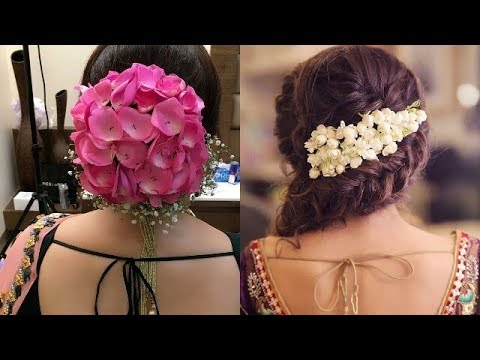 Beautiful Hair Style With Real Flowers Flower Bun Hairstyle Latest Side Flower Bun Style For Wedding