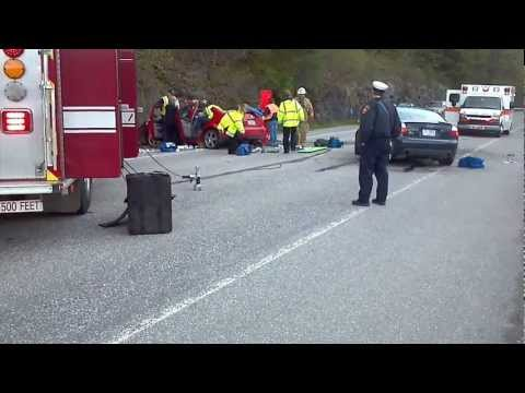 2 car head-on accident on Route 30 in Brattleboro, VT