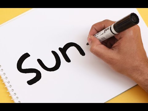 How to turn word SUN into a Cartoon ! Text To Picture Art for kids