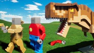 ¡ESCAPA DEL T-REX DE LEGO! 🦖😱 POLICIAS DE LEGO VS DINOSAURIO MÁS PELIGROSO 👮⚠️ INVICTOR