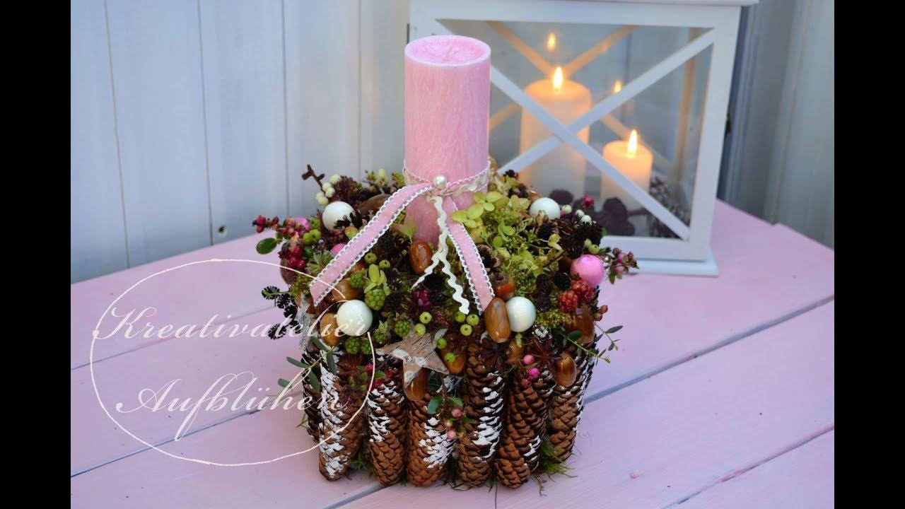 Rosa Weihnachtsdeko.Diy Rosa Weihnachtsdeko Selber Machen Farbharmonisches Kerzenensemble Mit Naturmaterialien