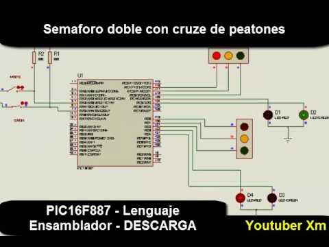 Download PIC16F887 - Semaforo doble con cruze de Peatones  - Lenguaje C - Descarga