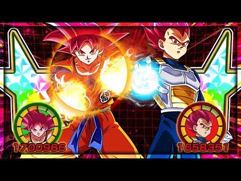 100% Rainbow star SSG GOKU AND VEGETA showcase! FIERY GOD POWER!   Dragon Ball Z Dokkan Battle