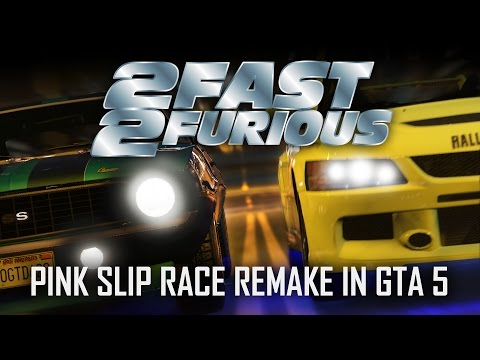 GTA 5 - 2 Fast 2 Furious Pink Slip Race Remake Spot On!