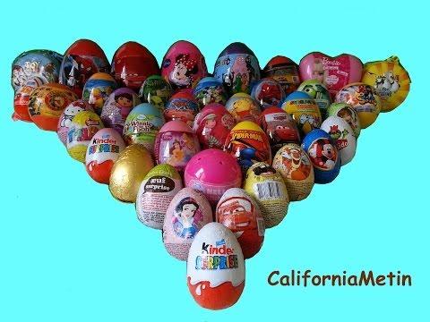 40 Surprise Eggs, Unwrapping Kinder Surprise, Spiderman, Cars, Spongebob Disney Pixar