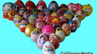 40 Surprise Eggs, Unwrapping Kinder Surprise, Spiderman, Cars, Spongebob Disney Pixar