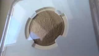 アンティークコイン オランダ 1912年ウィルヘルミナ王女10ギルダー マットプルーフ金貨 NGC PF64MATTE