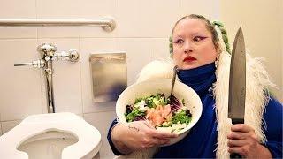 How to make an arugula salad in a public bathroom