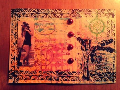 Mixed Media Art Tutorials ~ Ocean Mail Art ~ Tim Holtz Embossing & Layering Stamps