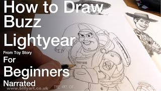 How to Draw Buzz Lightyear from Toy Story for beginners
