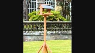 Wooden garden bird tables