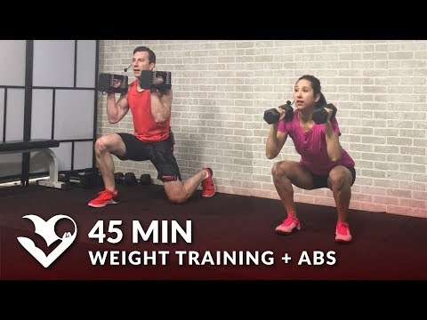 45 Min Weight Training Workout + Abs: Home Strength Training Full Body Dumbbell Workout Women & Men