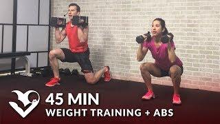 45 Min Weight Training Workout + Abs: Home Strength Training Full Body Dumbbell Workout Women & Men