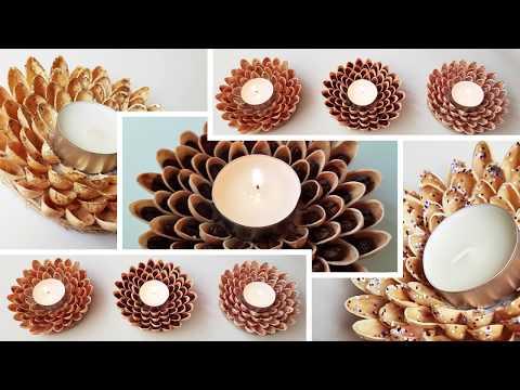 3 Ways to DIY Candlestick With Pistachio Shells craft tutorial | 3 способа сделать прдсвечник