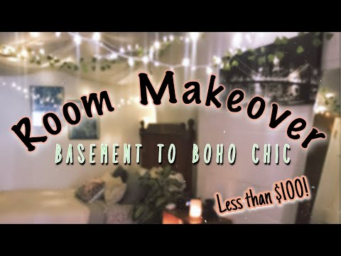 $100 BEDROOM TRANSFORMATION  | BASEMENT TO BOHO BEDROOM | JUST JAILYN