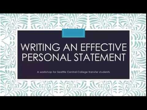 Seattle Central College Personal Statement Workshop