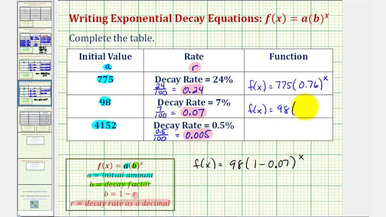How To Get An Exponential Equation From A Table Of Values ...