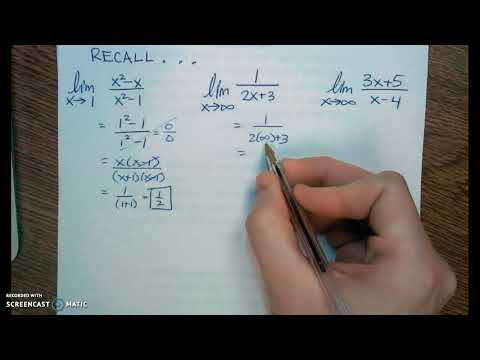 Calculus Lesson 4.4 Recall Limits