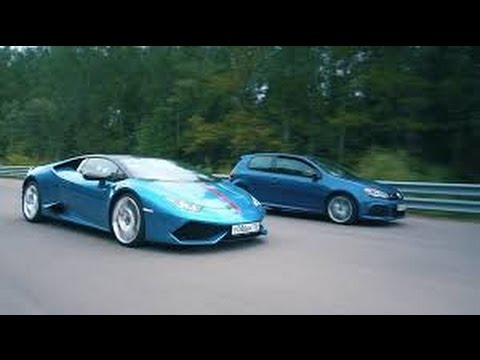 DT Test Drive--700 HP VW Golf R HGP vs Lamborghini Huracan