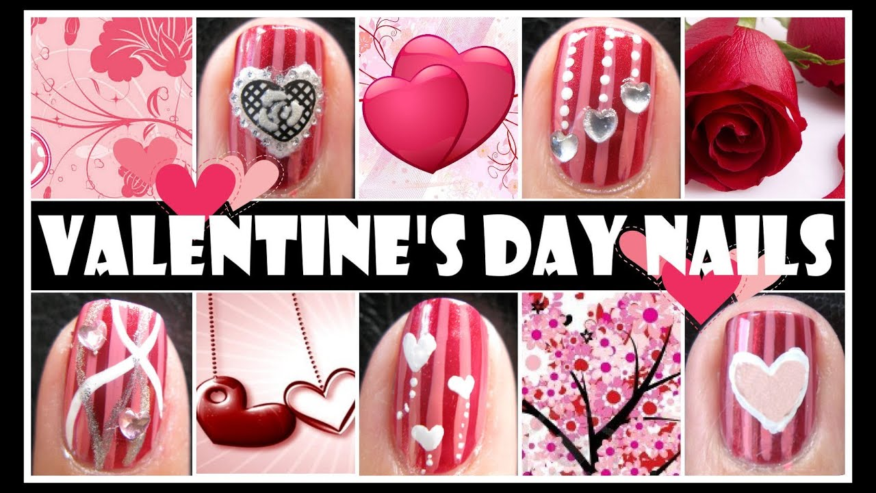 RED VALENTINE'S DAY NAIL DESIGNS | ROMANTIC NAIL ART ...