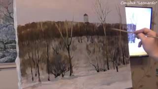 Коломенское, зимний пейзаж маслом. Художник Дмитрий Ревякин.