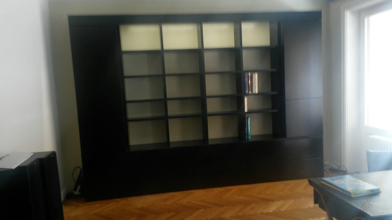 biblioth que sur mesure noir laqu e lyon bouillot menuiserie youtube. Black Bedroom Furniture Sets. Home Design Ideas