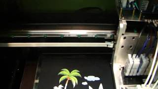 A2 dgt printer prints a scene picture on dark t shirt with CMYK&W