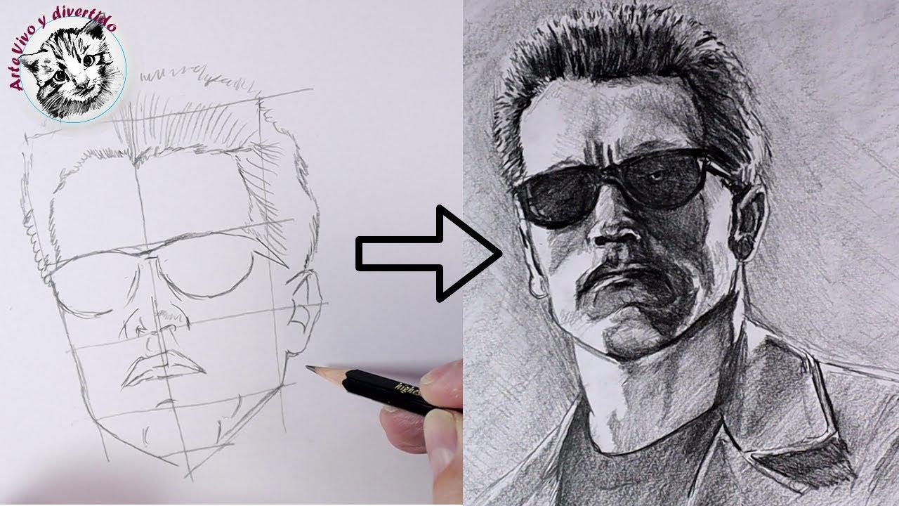 Como Dibujar un Retrato  con UN SOLO LAPIZ del Terminator Arnold Schwarzenegger PASO A PASO