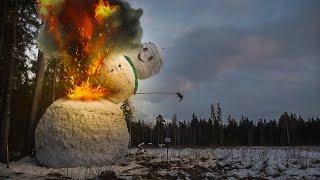 Падение самого большого снеговика Destruction of the biggest snowman